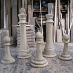 Iroko chess pieces