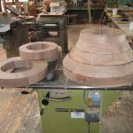 Walnut pedestal being glued